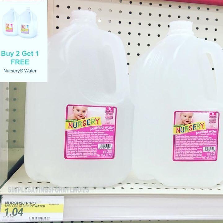 $0.69 each Nursery purified water http://simplesavingsforatlmoms.net/2017/07/0-69-each-nursery-purified-water.html