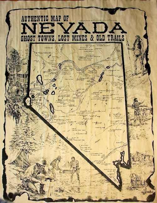 Nevada Ghost Towns, Lost Mines and Old Trails Map at Circle KB.com All Western Cowboy
