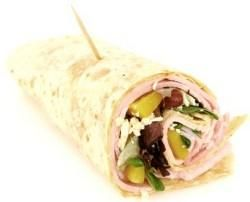 Tortilla roll-ups for a graduation party.       2 packets wafer-thin ham slices      1 large packet flour tortillas      1 (8-oz.) packet cream cheese      1 (7-oz.) can diced green chilies      1 (4-oz.) can chopped olives  Use a toothpick in school colors to hold together,