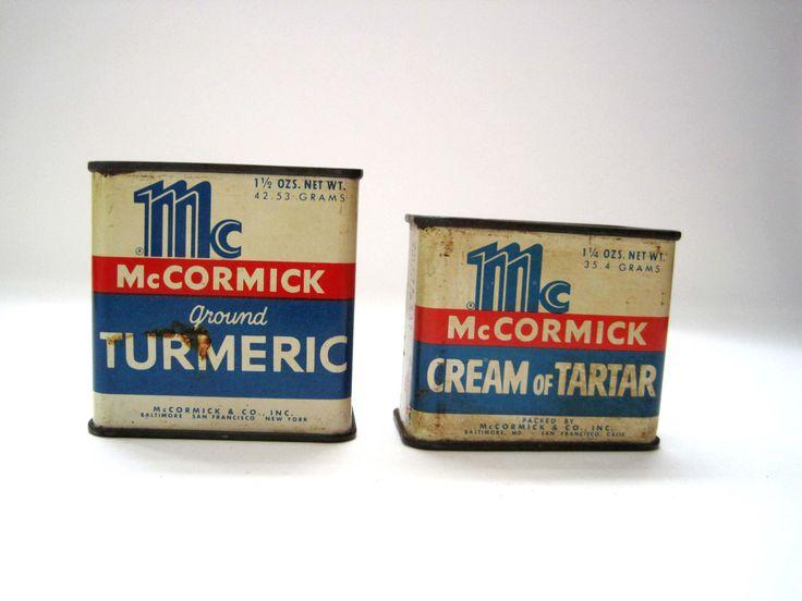 McCormack Spice Tins, Tumeric, Cream of Tartar, Antique Spices, Tea Tin, Candy Tin, Vintage Spice Tin, Antique Spice Tin, Kitchen Decor by SharetheLoveVintage on Etsy