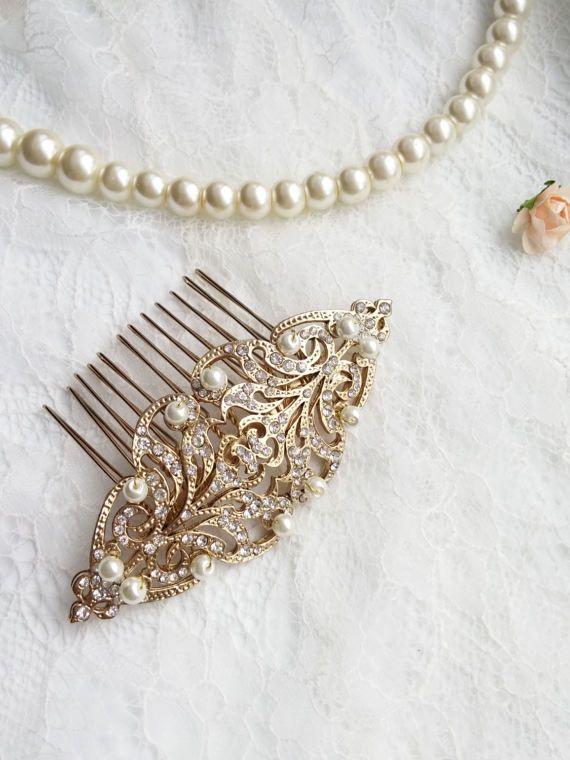 Victoriana oro viejo mate perlas cabello peine vintage estilo