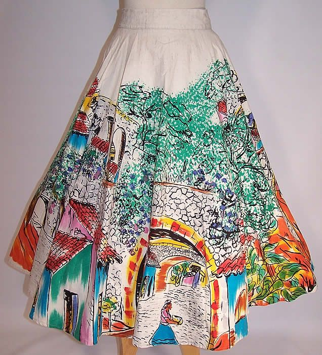 doodle with fabric felt tips! Vintage Tel-Art Figural Village Scene Hand Painted Mexican Circle Skirt
