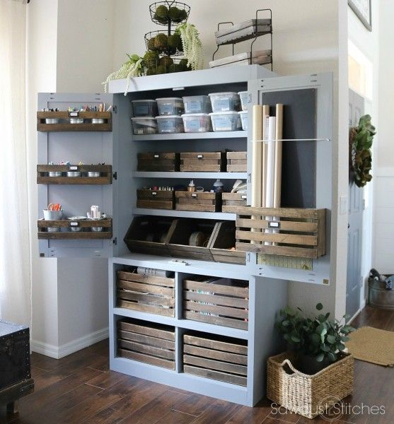 De 20 b sta id erna om craft storage p pinterest hantverksrum scrapbookrum och - Kitchen pantry cabinets freestanding ...