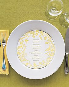 Think outside the box by adorning reception tables with menu cards that are round instead of the typical square or rectangle.