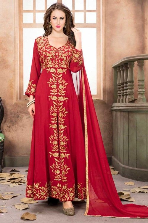 d5d2ea2cb77  Wedding  Plus  Size  Dresses - Red Faux Georgette Anarkali Suit With  Dupatta Online. PLease msg or whatsapp at 0169179180 for order details.
