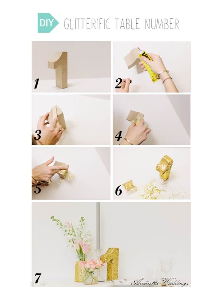 DIY: Glitterific Table Number Step 1: Get cardboard numbers. Step 2 & 3: Put glue on it and spread it little by little. Step 4 &5: Pour glitters where there is glue and spread them too, little by little. Step 6: Let it dry for 15 minutes without touching it. #DIY #tablenumber #decoration #wedding #inspiration #golden #glitter