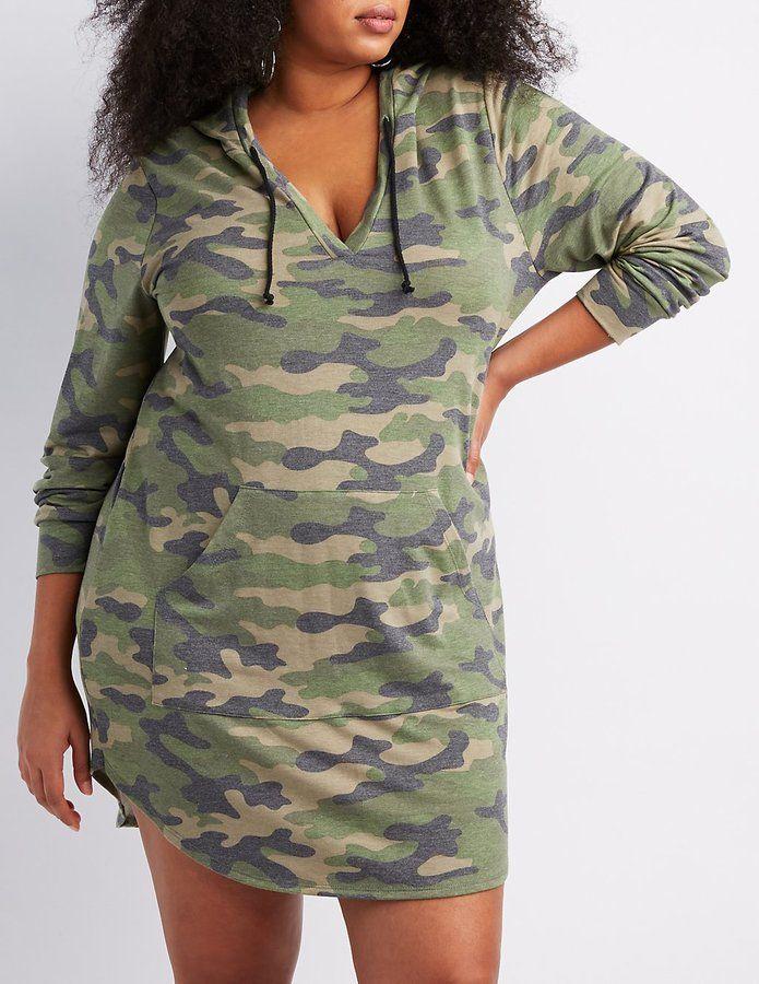 fa9c93504d9 Charlotte Russe Plus Size Camo Print Hooded Sweatshirt Dress
