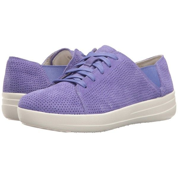 FitFlop F-Sporty Lace-Up Sneaker Perf (Lavender Blue) Women's  Shoes ($125) ❤ liked on Polyvore featuring shoes, laced shoes, anti slip shoes, light purple shoes, wide fit shoes and round cap