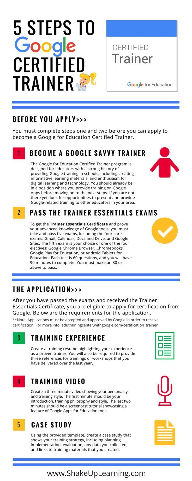 How to Become a Google Certified Trainer - 5 Steps [infographic]! Who wants to be a Google Certified Trainer? I can help. This infographic is just the start of some special resources I have in store. I'm sharing all my tips and tricks to help more educators become Google Certified Trainers and leaders on their campuses. Transform your learning and your career! Be sure you join my special email list by filling out the Google form…