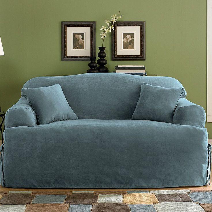Sure Fit Faux-Suede T-Cushion Loveseat Slipcover, Blue