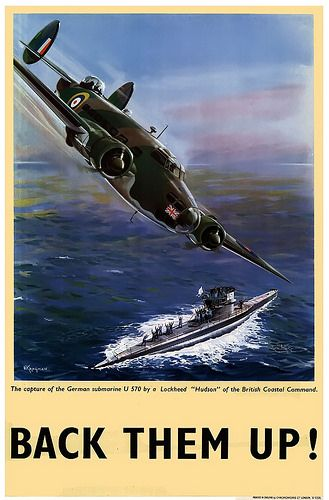 "The capture of the German submarine U570 by a Lockheed ""Hudson"" of the British Coastal Command -"