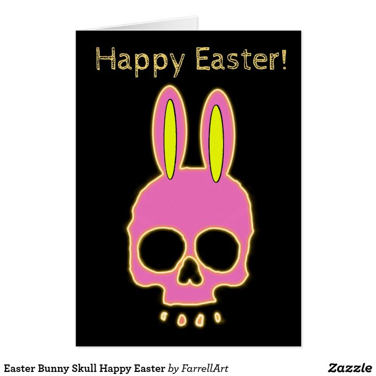 Easter Bunny Skull Happy Easter Card