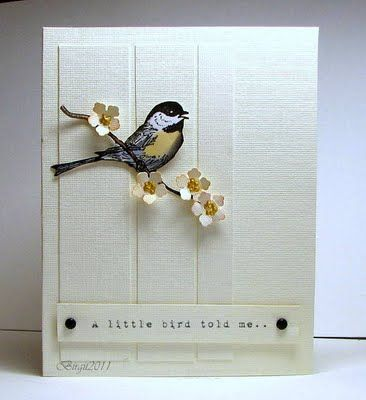 I couldn't find this card on the attached blog, because I gave up after looking through at least two years' worth of posts. I just love the blossom and wish I could find out which punch it was made with.