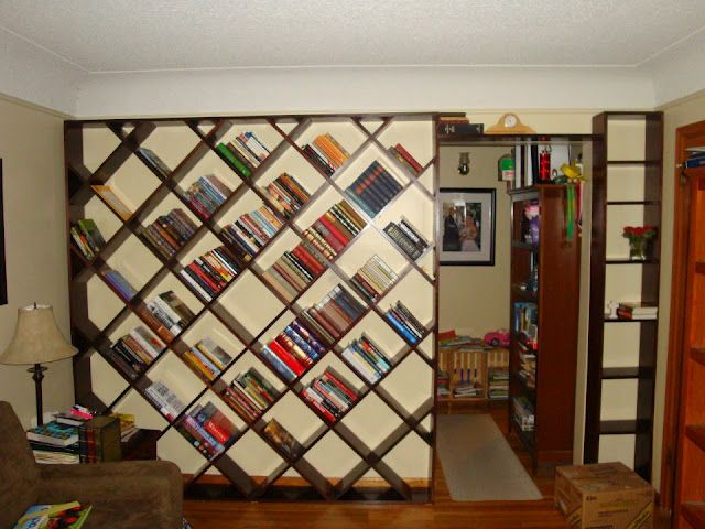 Great Diagonal Bookshelf Design