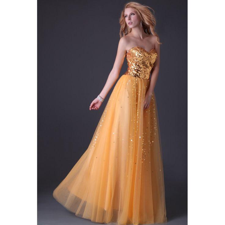 Večerné šaty Engelina zlato-oranžové šaty, šaty na stužkovú, šaty na promócie, dlhé šaty