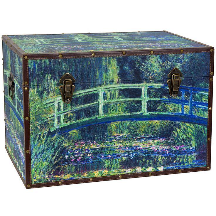 Oriental Furniture Faux Leather Renoir The Seine Trunk