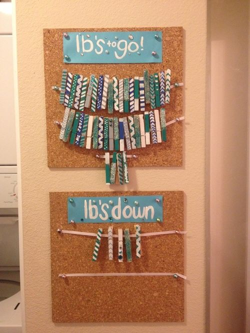 Corkboard with Clothespins Motivation Wall - a great way to remind you how far you need to go, but also what you've already accomplished.