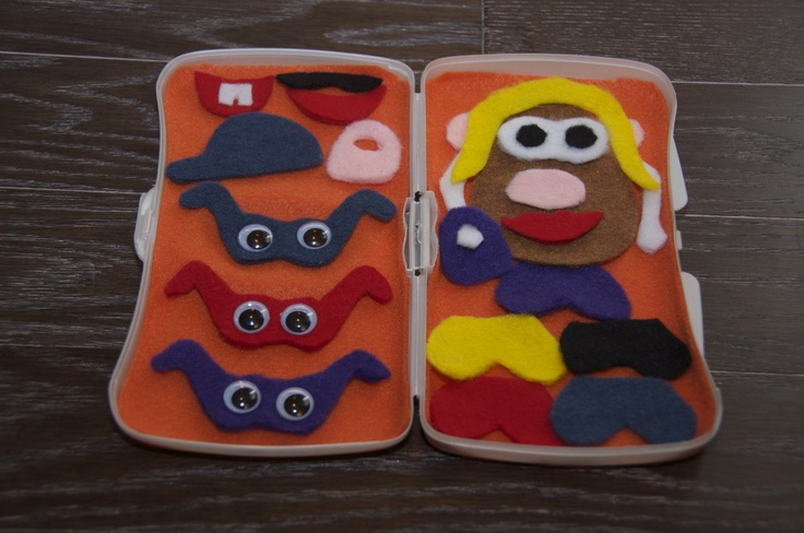 Felt Mr/Mrs. Potato Head in a wipes case.  Perfect for travel and she included patterns!!  They have travel wipes cases in the dollar bin at Target!