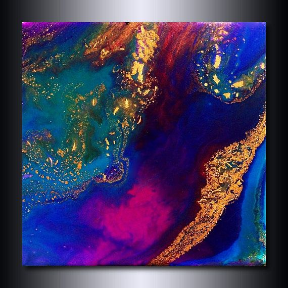 12 x 12 Print Blue Purple Magenta Pink Abstract by JacquelineSwann, $25.00