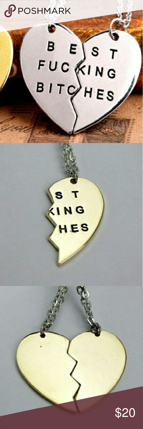 SILVER BFF Best F**ing B*tches Necklace Colors: Gold + Silver IN STOCK.  Silver: chain is silver.  Gold: chain is gold.  Only receive one PAIR of necklaces! One necklace is ONE half of the heart and the only necklace is the OTHER half. Two necklaces make a full heart! Jewelry Necklaces