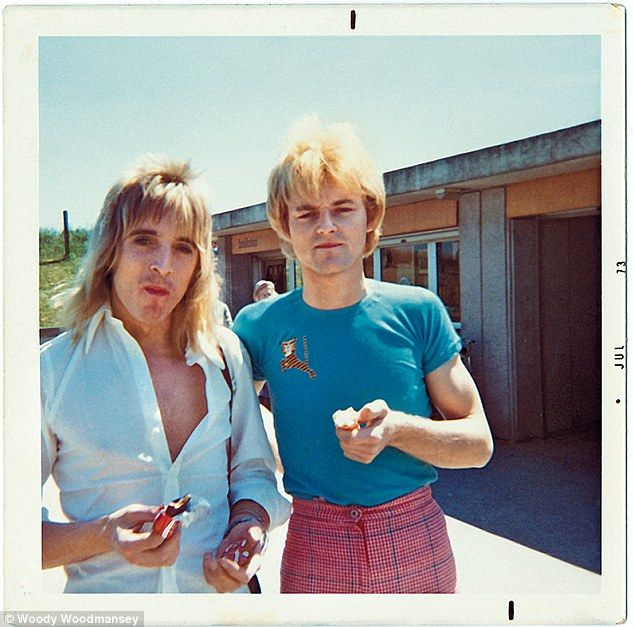 Woodmansey (right) with Ronson at Stonehenge during the 1973 UK tour...
