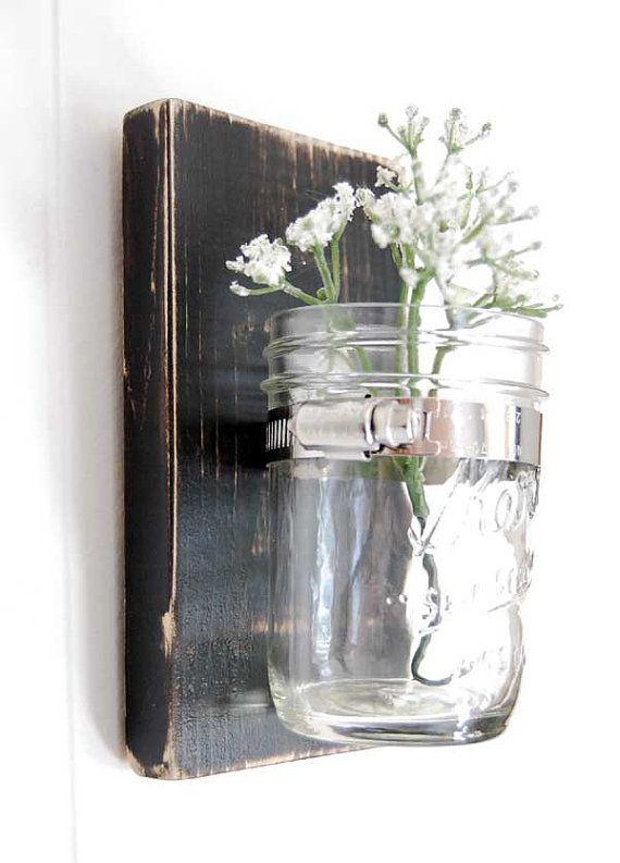 Mason Jar Wall Decor Pinterest : Mason jar wall sconce mi casa su home design and