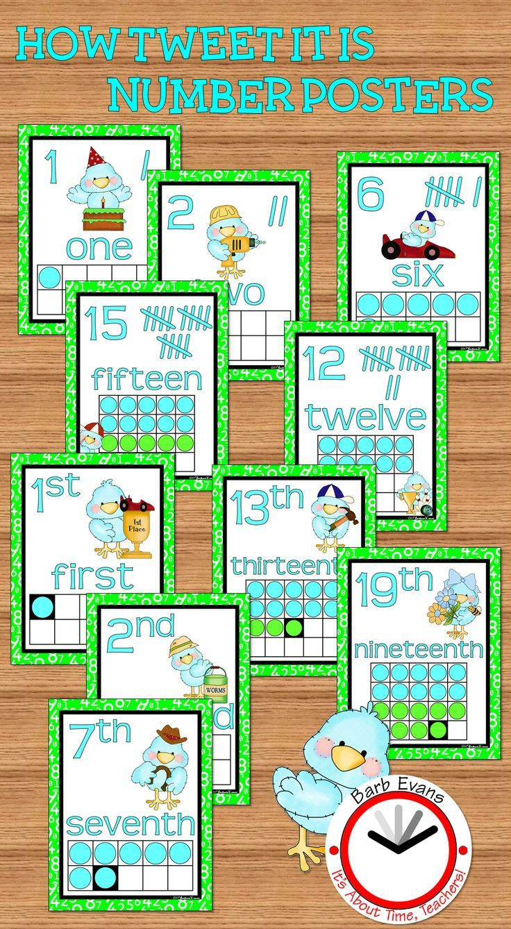 How TWEET It Is Numbers Posters -- cardinal & ordinal concepts.