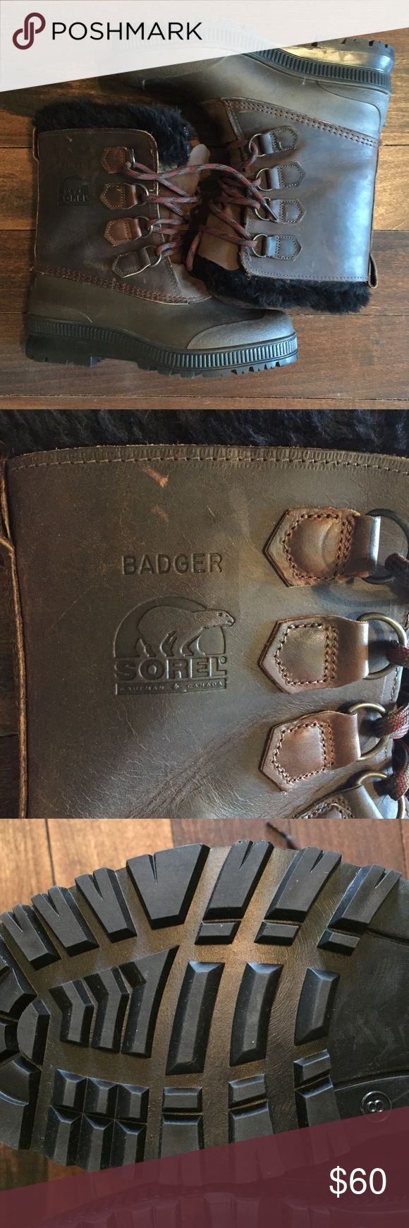 Badger SOREL Boots Men's 8 Great Condition Badger SOREL Boots Men's 8 Great Condition. These boots are fashionable, comfortable and like new! The tread looks brand new. These have only been worn a few times. Canadians know their boots! Wear these with a Northface fleece or Patagonia rain jacket to make the ultimate outfit. Sorel Shoes Boots
