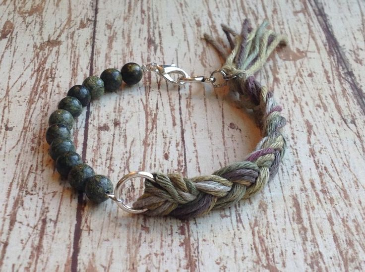 Army Green Green Stone And Braided Cord Bracelet With Tassel #Handmade #Beaded