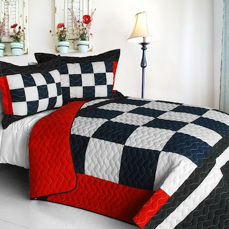 Checkered Flag Bedding Full/Queen Quilt Set Navy Black White Red Bedspread Speedway Race Car