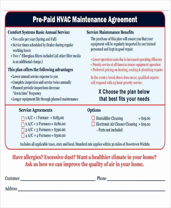 Free Hvac Maintenance Contract Template Lovely 9 Maintenance
