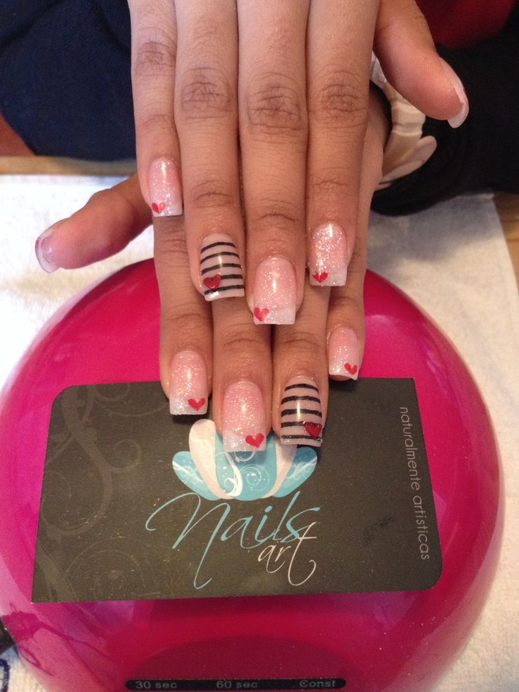 Nails art, acrylic nails ~ square nails w/ a slight curved nail bed. What I try to get every time I get my nails done.