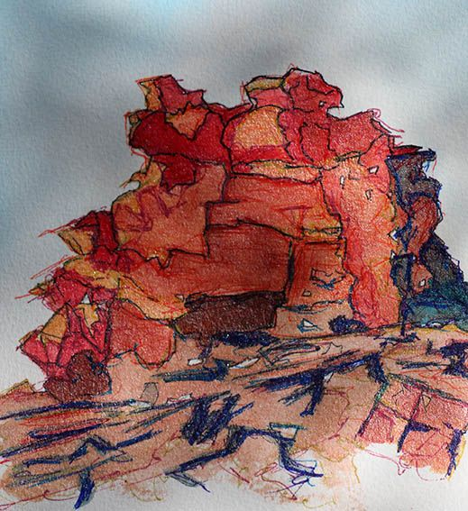 Rocks by the Riverbend  Illara (Illarari), Central Australia   Ink and pen by Jennifer O'Hara