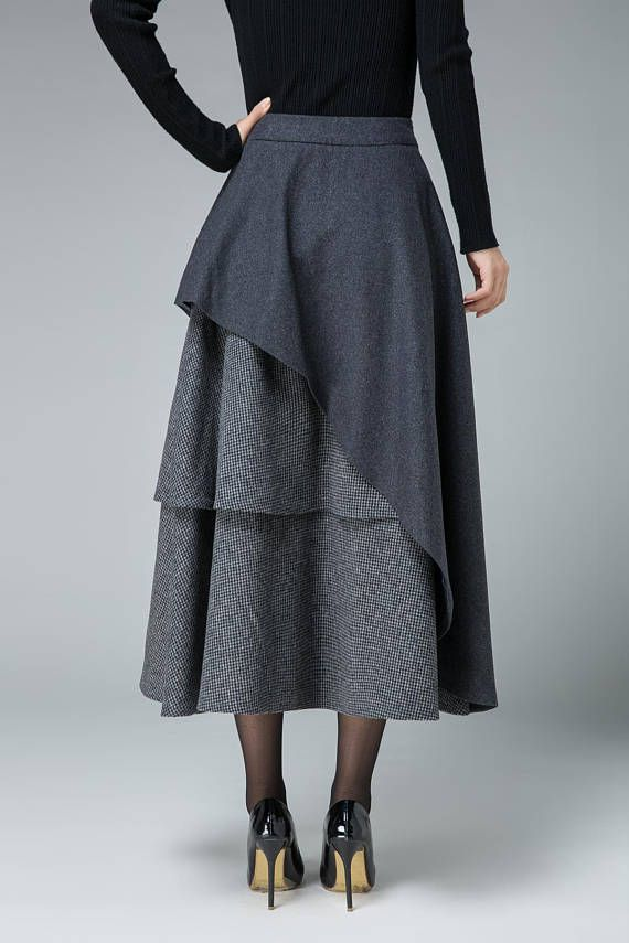 Our gray holiday wool skirt is styled with tiered shape with plaid wool fabric. DETAIL * Wool blend fabric, polyster lining * Banded waist * Zipper closure * Mid calf length * Layered with Houndstooth Fabric * SIZE GUIDE http://etsy.me/2AC9UzJ NOTE Please leave us your body measurement