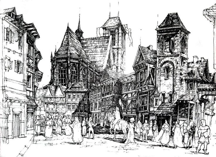 Medieval town pen historical architecture drawing by ukasz Ga