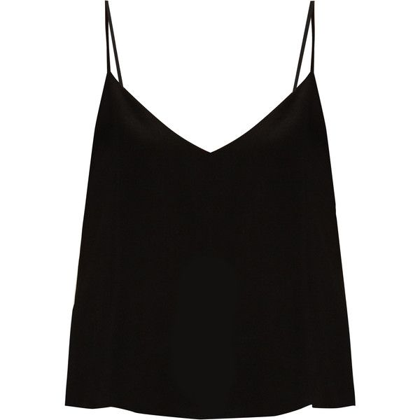 Raey Deep V-neck silk cami top found on Polyvore featuring tops, shirts, tank tops, blusas, black, deep v neck tank top, silk camisole, cami shirt, deep v neck cami and shirt tops