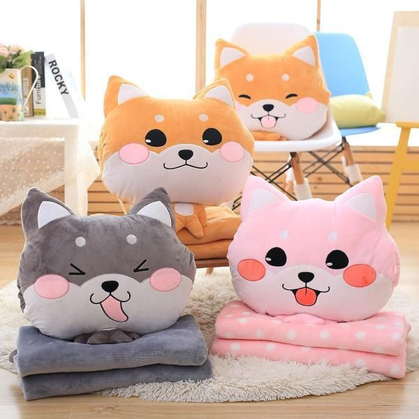 Shiba Head Pillow And Blanket Combo In 2020 Kids Pillows Cute Pillows Plush Pillows