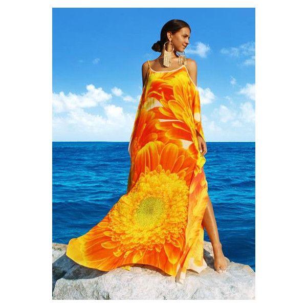 orange dresses, orange strap dresses, floral dress orange, silk... ❤ liked on Polyvore featuring dresses, flower print dresses, flower dress, silk floral dress, silk kaftan and blue flower dress