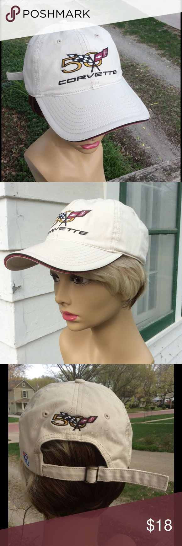 Unisex Corvette 50th Anniversary Cap Purchased in 2003, Corvette's 50th anniversary year. Slight yellowing inside front, but don't think it has been worn. This is an original! Adjustable. Unisex. Corvette Accessories Hats