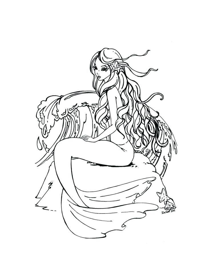 Mermaid Coloring Sheets For Adults Cute Free Mermaid Coloring Inside Realistic Mermaid Coloring Pages For Adults Dibujos Animados Para Dibujar Dibujos Sirenas