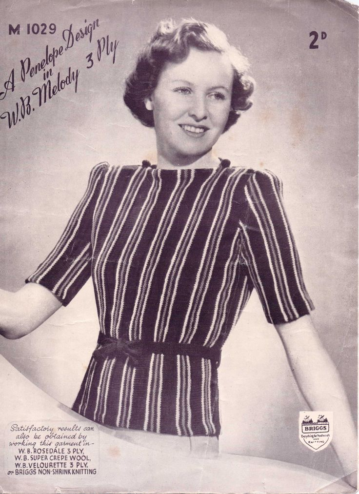 perhaps late 1930s or 1940s. Free vintage knitting pattern from The Sunny Stitcher.