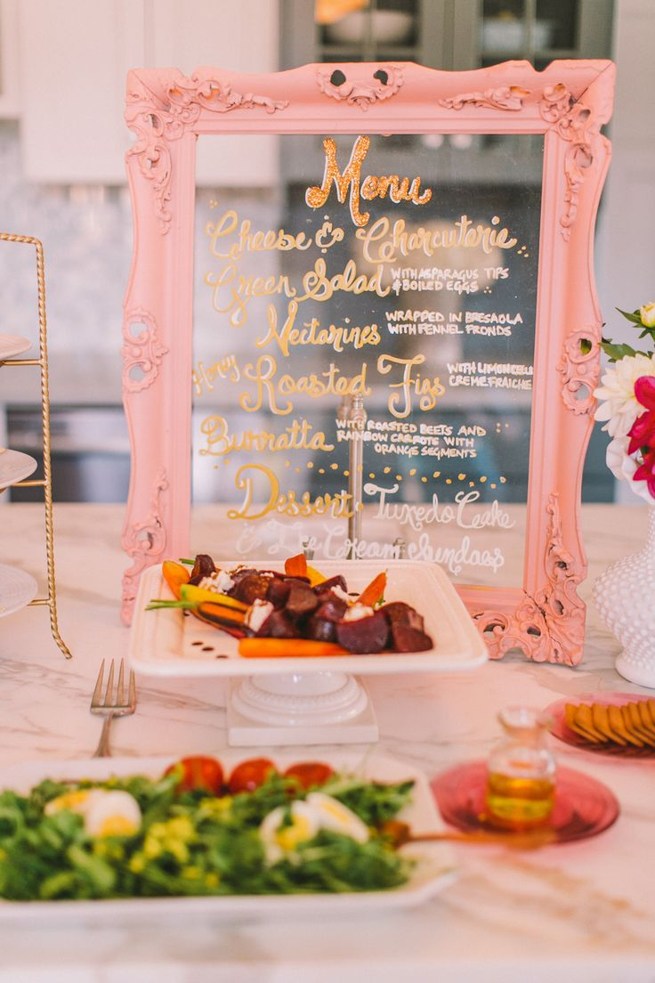 Glitter Menu on Pink Framed Glass | Very Cute! On Style Me Pretty: http://www.StyleMePretty.com/2014/02/12/diy-flower-wall-bridesmaids-party/ Photography: Cameron Ingalls