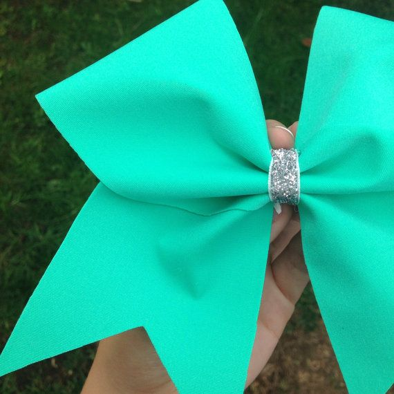 Tiffany Blue/Mint Cheer bow by BowSugar on Etsy