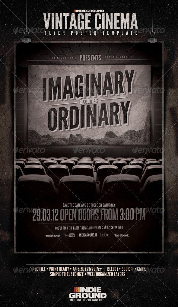 Vintage Cinema Flyer Poster Flyers Print Templates Psd