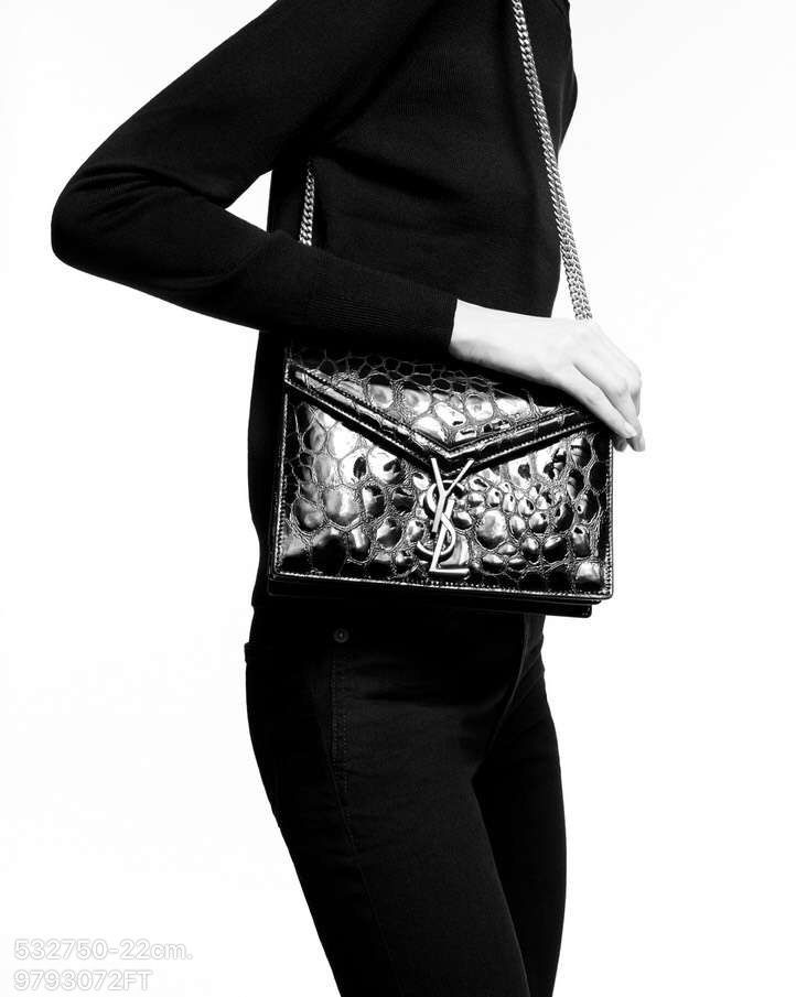 7f5e3e7b481ad Ysl Saint Laurent woman 2019 cassandra chain shoulder bag in  turtle-embossed patent leather black