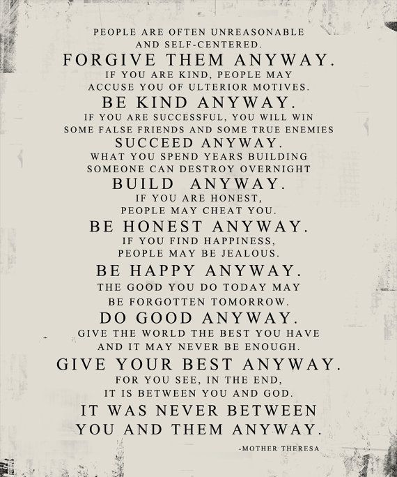 Mother Theresa Quote Forgive Them Anyway STOCK Word Art  PRINT by Geezees