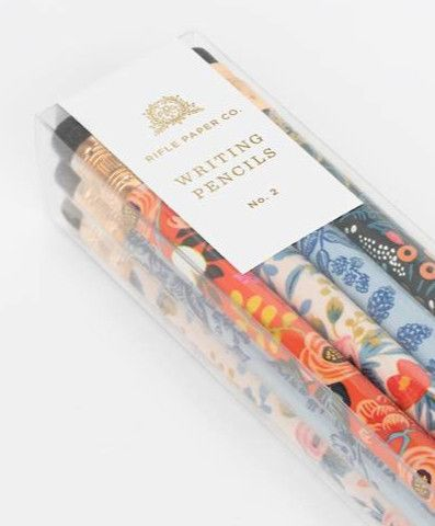 "Rifle Paper Co.'s folk writing pencil set includes a total of 12 pencils, 3 of each design. These come pre-sharpened and ready to use. DETAILS - Number 2 graphite - 7.5""t - Wood + graphite - Set of 12"