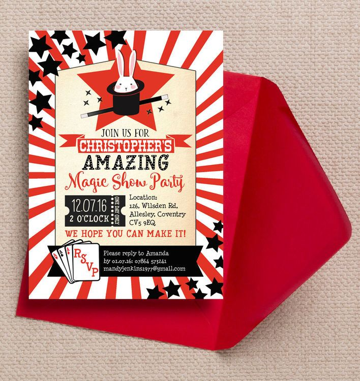 Magic Show Kids Personalised Birthday Party Invitation. DIY Printable PDF or Printed & Delivered.