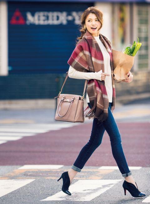 【着まわしday5】ボトルネックニット×スキニーデニム | ファッション コーディネート | with online on ウーマンエキサイト