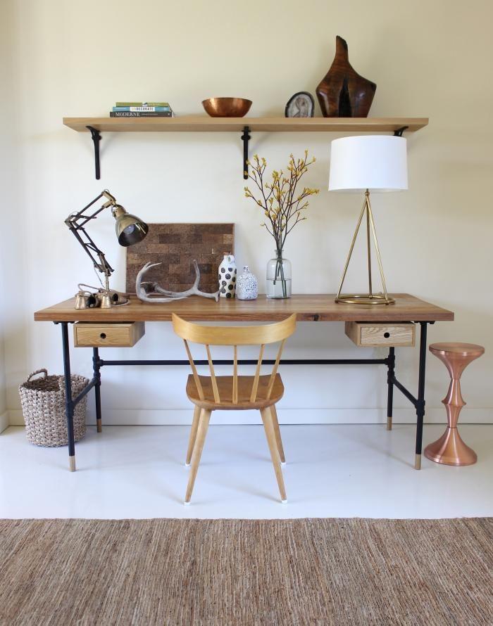 A Garage Turned Garden Room in LA : Remodelista: Lamps, Desks Area, Offices Desks, Disc Interiors, Pipes Desks, Offices Spaces, Work Spaces, Workspaces, Home Offices